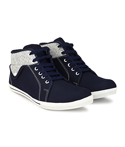 Lzee Men's canvas Blue Boot Shoes