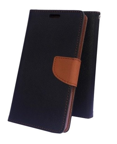 Delkart Flip Cover For Samsung Galaxy Grand Max/ Grand 3 (Black & Brown)