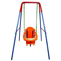 GYMAX Kids Toddler Swing Set Folding Safety Swing Chair For Play Fun Indoor/Outdoor