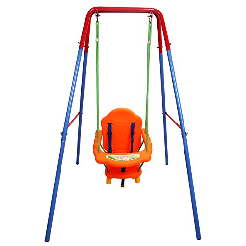 GYMAX Folding Toddler Baby Swing Safety Chair Set Kids Play Fun Garden Indoor/Outdoor