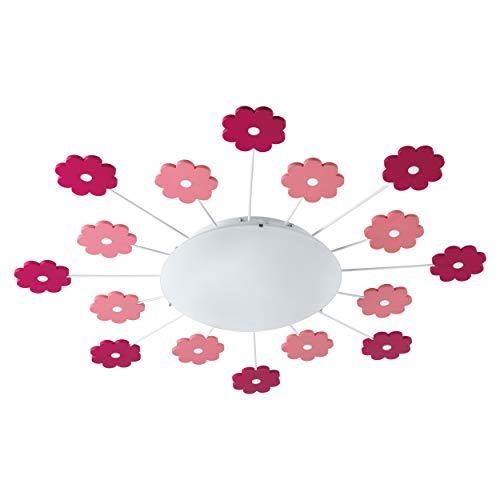 EGLO Deckenlampe Viki 1, 1 flammige Kinderzimmer Wandlampe, Deckenleuchte aus Stahl, Farbe: Pink, Glas: satiniert, weiß, Fassung: E27
