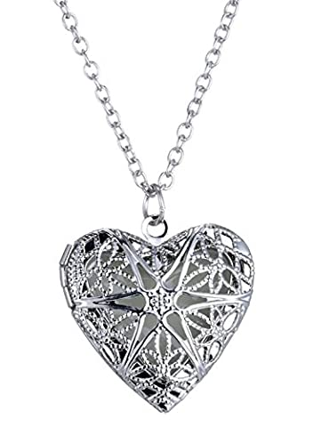 Neoglory® Jewellery Filigree Heart Love Chain Photo Box Locket Charm Necklace Cute Out Silver Plated