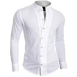 D&R Fashion los Hombres la Camisa Moderna con los PU?os Individuales y el Abuelo del Collar del Estilo Japón