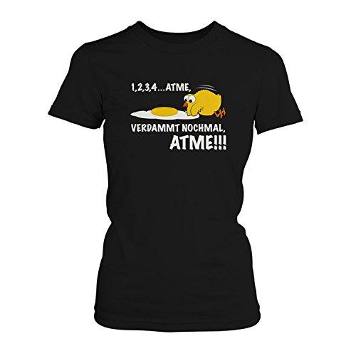Fashionalarm Atme, verdammt nochmal, atme! - Damen T-Shirt Fun Shirt Spruch Spaß Küken Eier Tiere, Farbe:schwarz;Größe:3XL