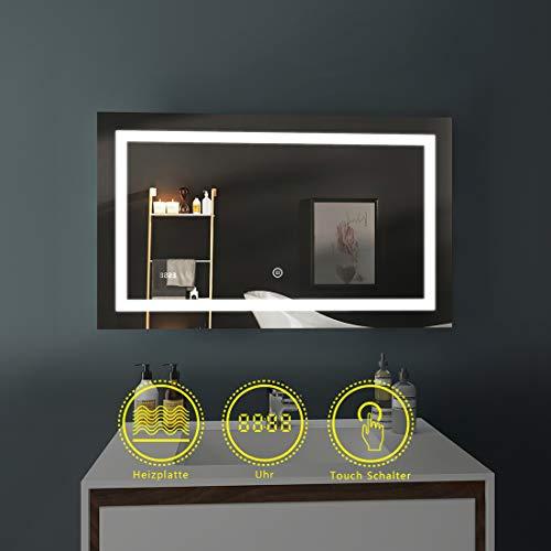 LED Badspiegel 100x60cm Beleuchtung Badezimmerspiegel Wandspiegel mit Touch-Schalter, Beschlagfrei, Uhr