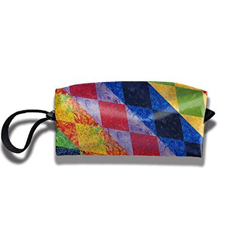Quilt Pattern Print Elegant Cosmetic Pouch Bag Cute Makeup Junkie Bags Travel Makeup Bag Pouch with Zipper Pendleton-quilt