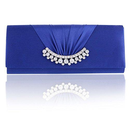 Damara Pochette Femme de Soirée Synthétique Long Unie Orné de Pière Simple Enveloppe bleu