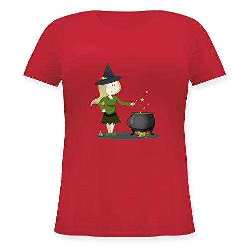 Halloween - Kleine Hexe - S (44) - Rot - JHK601 - Lockeres Damen-Shirt in großen Größen mit Rundhalsausschnitt