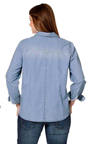 Sheego - Chemisier - Uni - Femme Bleu - Bleu clair