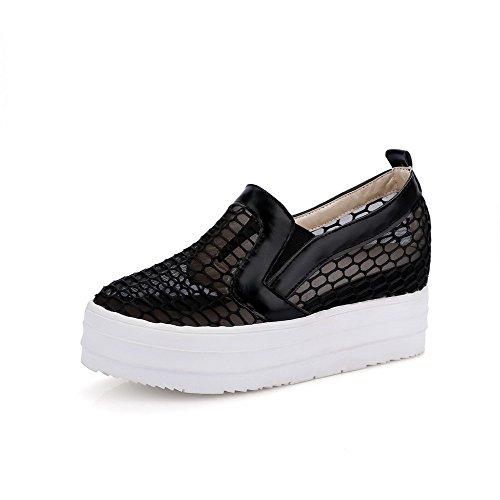 AgooLar Femme Rond à Talon Correct Matière Souple Couleur Unie Tire Chaussures Légeres Noir