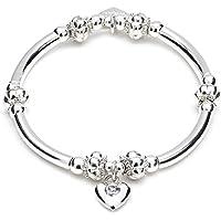 ANNIE HAAK Indah braccialetto d'argento fascino, Mano-in rilievo & Tube Chunky Design, con palloncino cuore charme incasso Crystal Clear