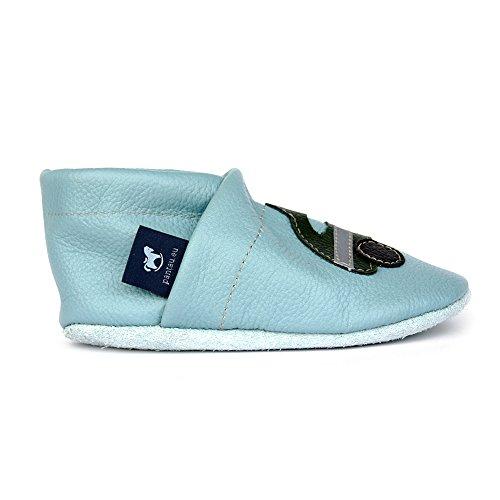 eu Bebê Com grün Hellblau Sapatos Pantau Sapatos Lauflernschuhe Rastejando Couro Couro Polícia De qxUPz5TTn