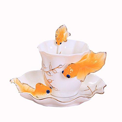 Coupe de café en céramique Set / 1 Coupe 1 Disc Set / thé de l'après-midi créative / café cadeau (6 couleurs en option) ( couleur : F )