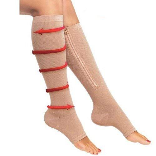 RLdaffodil Reißverschluss Kompression Socken für Herren Damen mit Zehen Offen Design Reißverschluss Bein Unterstützung Kniehohe Strümpfe, Skin Color XL (Mit Designs Kompressions-socken)