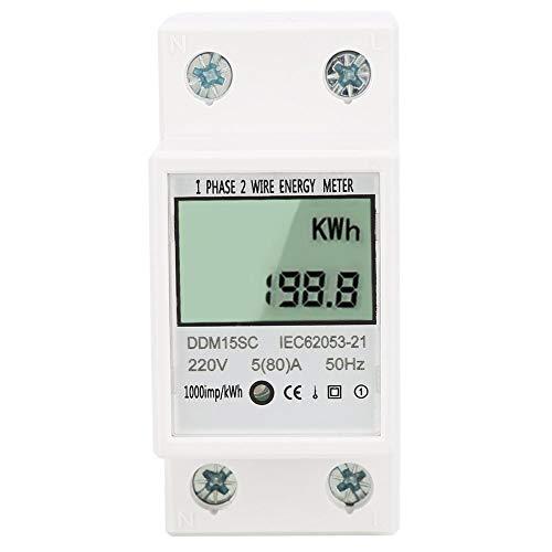 Energiezähler, 5-80A DDM15SC DIN-Schienenmontage Wattmeter Einphasen-Energie-KWh-Meter Strom Digital LCD-Energiezähler - Kwh Meter