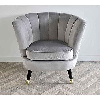 Grey Velvet Scallop Shell Back Tub Chair Armchair