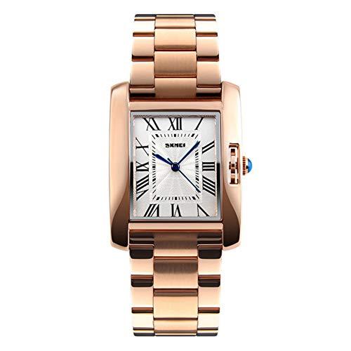 Analoge Wasserdichte Uhr der Frauen Mode zu sehen Rechteckiges Zifferblatt 3-Pin-Anzeige Edelstahlband Geschäftsuhr, Gold