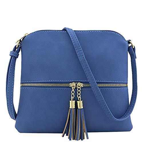 Bfmyxgs Mother es Day Messenger Bag für Frauen Leder Tassel Crossbody Bag Pure Color Shoulder Tasche Totes Handtasche Taschendiebstähle Totes Tasch-Bagtasche Totes Tasch-Bag. Brustpaket -