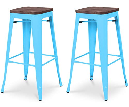 Tabouret de bar design industriel HARLEM (lot de 2) bleu