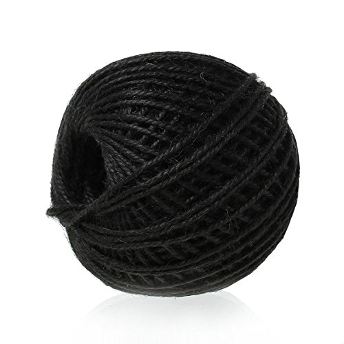 SiAura Material Pelote de ficelle en jute, Blanc Épaisseur 2 mm, 80 m, Noir