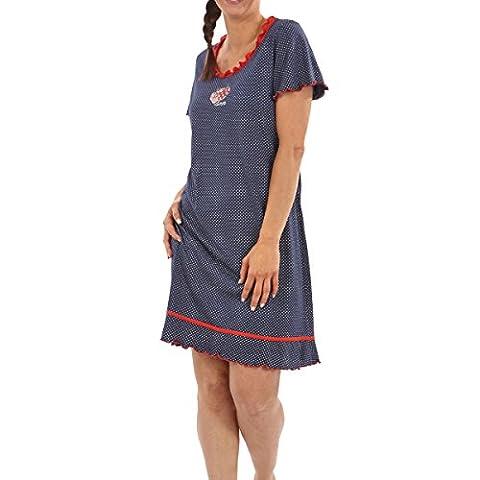 Graziella Damen Nachthemd aus 100% Baumwolle Nachtwäsche Marine Gr. 40 Sleepshirt Länge 95 cm