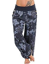 41be560749e142 Yoga Pants TUDUZ Women Casual Baggy Thailand Indonesian Floral Print Wide  Leg Pants Boho Aladdin Loose Pocket Button Sport Harem…