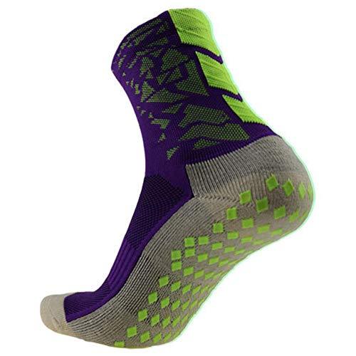 Yanten Outdoor Sports Anti-Rutsch Fußball Socken Herren Fußball Socken (Grün + Lila) -