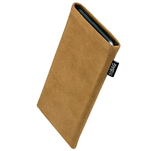 fitBAG Classic Sand Handytasche Tasche aus original Alcantara mit Microfaserinnenfutter für Obi Worldphone SJ1.5 | Hülle mit Reinigungsfunktion | Made in Germany