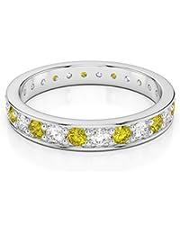 18KT oro blanco 0,38Ct certificado g-H/VS corte redondo amarillo Sapphire y Diamond Full Eternity anillo agdr-1080