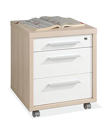 Container Rollcontainer Schubladenschrank SILKE 29 | Braun-Weiß | Coimbra Esche