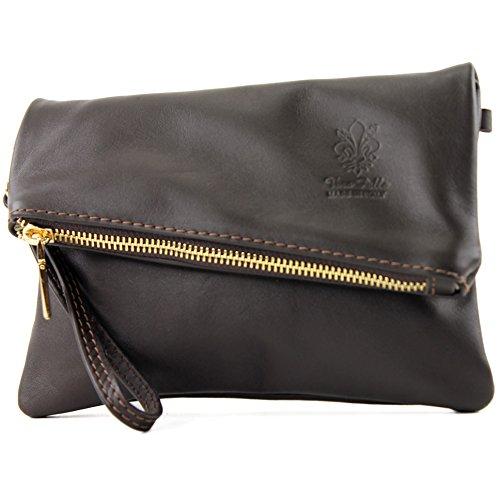 modamoda de -. ital petites dames de sac d'épaule de sac en cuir d'embrayage poignet Sac en cuir T95, Präzise Farbe (nur Farbe):Dark Chocolate