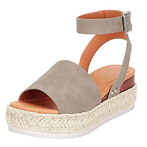 Sandalen Damen Plateau Espadrille Sommer Keilabsatz Faux Leder 5 cm Absatz Sandaletten Peep Toe Flach Sommerschuhe Bequeme 35-43 (Gray,43) -