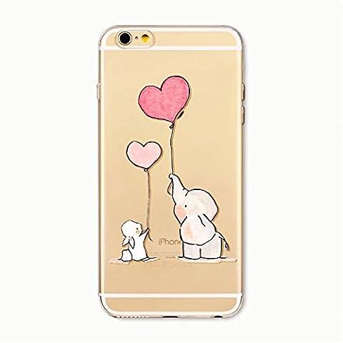 KSHOP Coque pour iPhone 6 Plus/iphone 6s Plus (5.5) Ultra Fine en Gel TPU Souple Clear Anti-rayures Bumper Modif Peint - L'amour Lapin Ballon Eléphant Rose