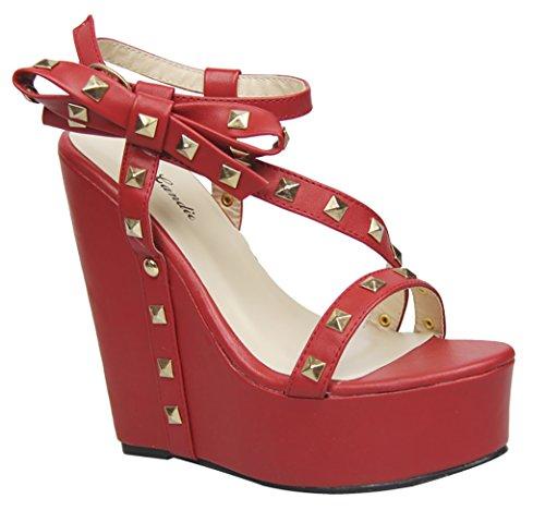 Funky Fourever da donna con borchie, aperte in punta Sandalo modello Strappy con fiocchi Rosso (rosso)
