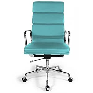 Fauteuil style Soft Pad Group EA 219 Eames - Simili Cuir - Roulettes Turquoise