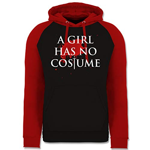 Name With Mann No Kostüm - Karneval & Fasching - A Girl Has No Costume Kostüm - XL - Schwarz/Rot - JH009 - Baseball Hoodie