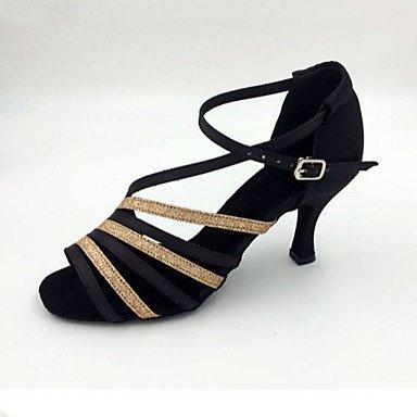 XIAMUO Anpassbare Damen Tanz Schuhe Satin Satin Latin Sandalen Stiletto Heel Indoor/Performance/Praxis/Beginner/Professional Schwarz Gold