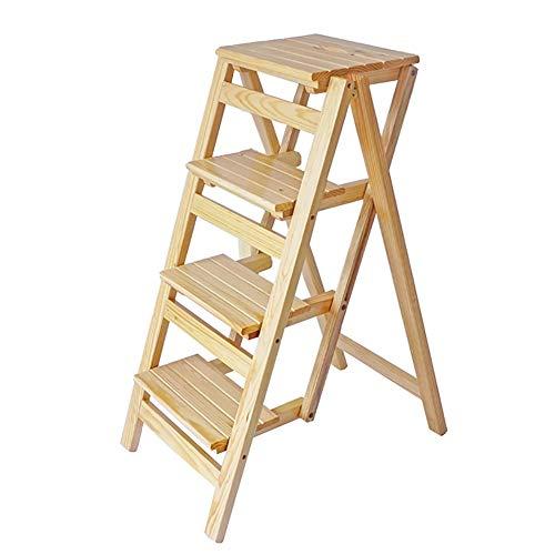 Stehleitern Holz Folding 4 Schritte Hocker Für Erwachsene, Haushalt Multifunktionsleiter Hocker Ändern Schuh Bank Blume Stand (Farbe : Holzfarbe)