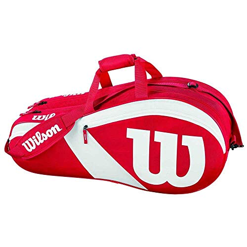 Wilson Damen/Herren Tennis-Tasche, für Spieler aller Spielstärken, Team III 6 PK, Einheitsgröße, rot/weiß, WRZ827806