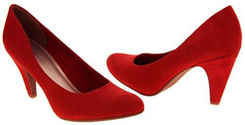 Donna Marco Tozzi finto camoscio scarpe tacco medio di corte Rosso