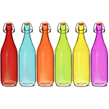 Botellas de cristal de colores con cierre hermético de 1 litro, juego de 6 piezas