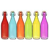 Botellas de cristal de colores con cierre hermético de 1 litro, juego de 6 piezas: Rojo, azul, naranja, verde, amarillo, morado
