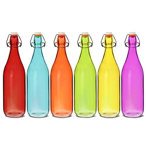 Farbige Glas Swing Top Flaschen 1Liter-6Stück-Rot, Blau, Orange, Grün, Gelb, Lila Flaschen (Kunststoff-wein-gläser Farbe Rot)