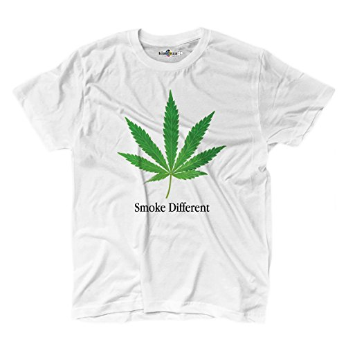 T-Shirt Uomo Smoke different Apple parodia doping weed cannabis fumo