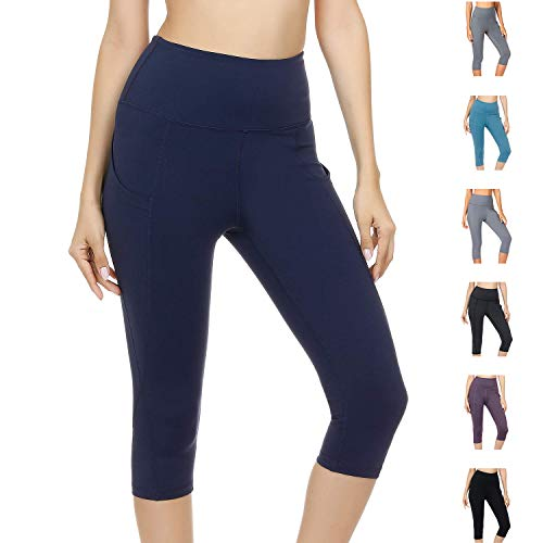 WateLves Damen Hohe Taille Sport Hose 3/4 Yoga Leggings Capri mit Tasche Jogginghose Stretch Workout Fitness(Marine, S) Die Tasche