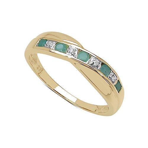 Der Diamant-Ring-Kollektion: 9ct Gold Smaragd und Diamant Kreuz gesetzt Eternity Ring, Ringgröße 53