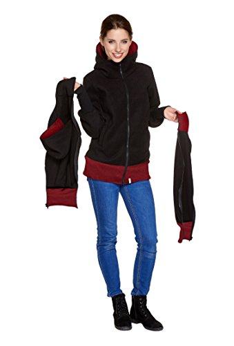 Be! Mama 3in1 - Tragejacke/Pulli & Umstandsjacke & Damenjacke in einem aus kuscheligem Fleece, Modell: BERGAMO 3in1/Schwarz-Bordeaux