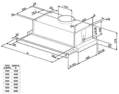 Smeg KSET61E Semintegrada (extraíble) Plata 330m³/h E - Campana (330 m³/h, Canalizado/Recirculación,...