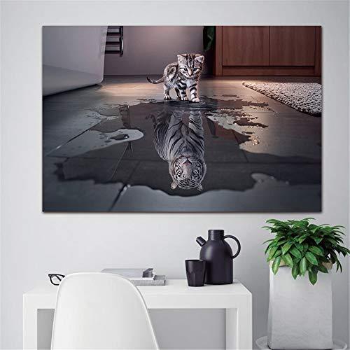 Ecke Gerahmt (ZUHN Neueste Insel Dekorationen Moderne Leinwanddrucke Kunstwerk Katze Und Tiger Bilder Gemälde Leinwand Wandkunst Malerei Dekor,20 * 35cm)