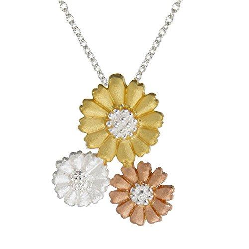 Nummer 39Sterling Silber Drei Daisy Anhänger mit Rose Gold und Gelb Vergoldet